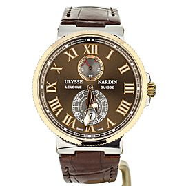 Ulysse Nardin Marine Chronometer Rose Gold bezel Brown Dial 265-67 43mm