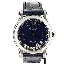 CHOPARD HAPPY SPORT ON STRAP BLUE DIAL 7 FLOATING DIAMONDS 278559-3008 36MM