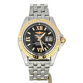 Breilting Galactic 41 Stainless Steel Yellow Gold Bezel C49350 Diamond Tab Bezel