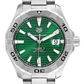 Tag Heuer Aquaracer Green Dial Steel Mens Watch WAY2015 Unworn