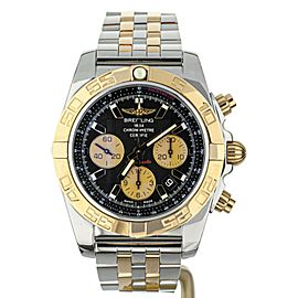 Breitling Chronomat Two Tone Rose Gold Black Dial CB0110 on Bracelet 44mm