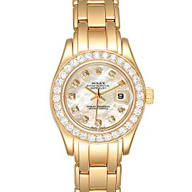Rolex Pearlmaster Yellow Gold Diamond Ladies Watch 69298 Box Papers