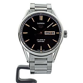 TAG HEUER CARRERA CALIBRE 5 DAY DATE BLACK DIAL ON BRACELET REF WAR20