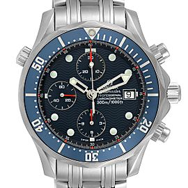 Omega Seamaster Bond Chrono Blue Wave Dial Mens Watch 2599.80.00 Card