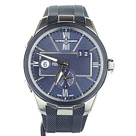 Ulysse Nardin Executive Dual Time Blue Stainless Steel 42mm 243-20-3/43 Full Set