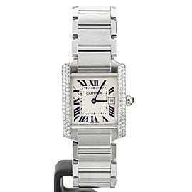 Cartier Tank Francaise Stainless Steel Medium Custom Diamond Bezel 1.02cts 2465