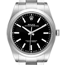 Rolex Oyster Perpetual 39 Black Dial Steel Mens Watch 114300 Unworn