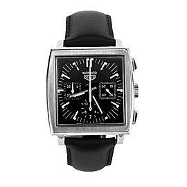 Tag Heuer Monaco Chronograph Black Dial Leather Strap 38mm CS2111