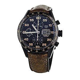 Tag Heuer Carrera Chronograph Black Dial Titanium DLC 43mm CV2a84 full set