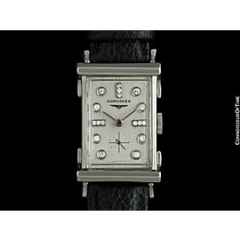 1952 LONGINES Vintage Mens Watch - 14K White Gold & Diamonds - THE ADVOCATE