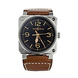 BELL & ROSS STAINLESS STEEL BLACK DIAL BROWN CALF STRAP 42MM BR 03-92
