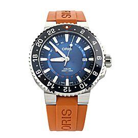 Oris Aquis Carysfort Reef Blue Dial Orange Rubber 43mm 01 798 7754 4185 Full Set