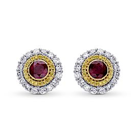 Leibish 18K White and Yellow Gold with 0.87ct Ruby and 0.76ctw Diamond Halo Earrings