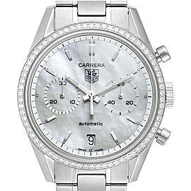 Tag Heuer Carrera Chronograph MOP Diamond Mens Watch CV2116 Box Card