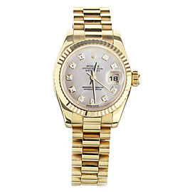 Rolex Lady Datejust 26 President Mother of Pearl Diamond Dial Yellow Gold 179178