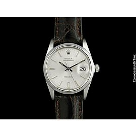 1973 ROLEX Vintage Mens Oysterdate Date Watch, Silver Dial - Stainless Steel
