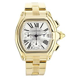 Cartier Roadster Chronograph Yellow Gold on Bracelet Silver Dial 48mm 2619