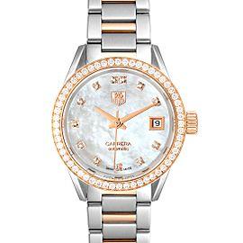 TAG Heuer Carrera MOP Diamond Steel Rose Gold Ladies Watch WAR2453