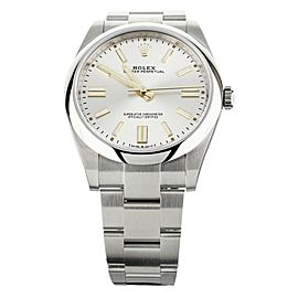 ROLEX OYSTER PERPETUAL SILVER DIAL STAINLESS STEEL 41MM 124300 FULL SET