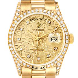 Rolex President Day-Date 18k Yellow Gold Diamond Mens Watch 18138