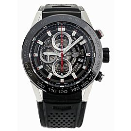 TAG HEUER CARRERA HEUER 01 CHRONOGRAPH STAINLESS RUBBER STRAP 45MM CAR2A1Z