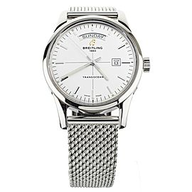 Breitling Transocean Day Date Stainless Steel Silver Dial 43mm A4531012 Full Set