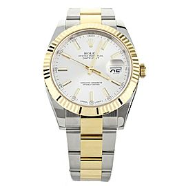 Rolex Datejust 41 Stainless Steel Yellow Gold Fluted Bezel 126333 Full Set