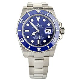 ROLEX SUBMARINER SMURF 116619LB 40MM WHITE GOLD AUTOMATIC FULL SET SERVICED