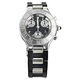 Cartier Chronoscaph 21 Stainless Steel Black dial Rubber S38mm Quartz W10125U2