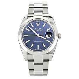 Rolex Datejust 41 Blue Dial Stainless Steel on Bracelet 41mm 126300 Full Set