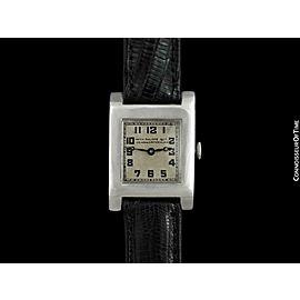 1909 PATEK PHILIPPE Vintage Art Deco Platinum Mens Midsize Watch - Warranty