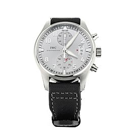 """IWC PILOT'S WATCH CHRONOGRAPH """"JU AIR"""" LIMITED EDITION SILVER DIAL 43MM IW387809"""