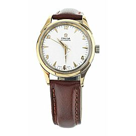 OMEGA 2583-6 35MM PLATED STAINLESS STEEL AUTOMATIC SILVER DIAL ON LEATHER STRAP
