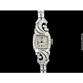 1943 LONGINES Vintage Ladies Cocktail Watch - Platinum with 3.37 Cts of Diamonds