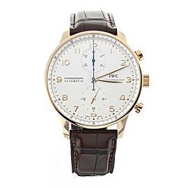IWC Portugieser Chronograph Rose Gold Silver Dial Brown Alligator 41mm IW371480