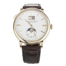 A. Lange and Sohne Saxonia Moon Phase Rose Gold Silver Dial 40mm 384.032
