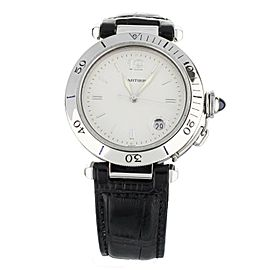Cartier Pasha Automatic Stainless Steel Hobnail Dial Alligator Strap 38mm 1040