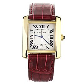 Cartier Tank Francaise Automatic Yellow Gold Red Alligator Strap 28x32mm 1840