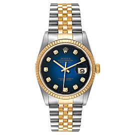 Rolex Datejust Steel Yellow Gold Vignette Diamond Dial Mens Watch 16233