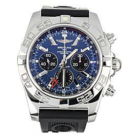 Breitling Chronomat GMT Stainless Steel Black Eyed Blue on Rubber 47mm AB0410