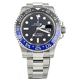 Rolex GMT Master II BATMAN Stainless Steel Black and Blue Bezel 40mm 116710 BLNR