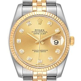 Rolex Datejust 36 Steel Yellow Gold Diamond Mens Watch 116233 Box Papers