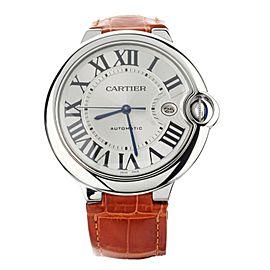 Cartier Ballon Bleu Automatic on Orange Alligator Strap 42mm W69016Z4 Full Set