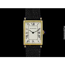 1980's Tiffany & Co. Vintage Mens Classic Dress Watch - 14K Gold
