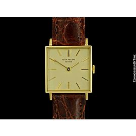 1970 PATEK PHILIPPE Vintage Mens 18K Gold Square Dress Watch -