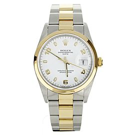 Rolex Oyster Perpetual Date Stainless Steel Yellow Gold 34mm 15203 Full Set