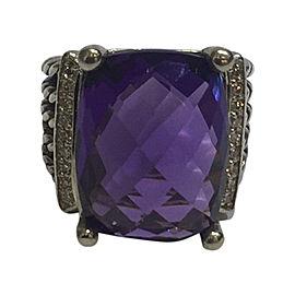 David Yurman Wheaton Sterling Silver Amethyst and Diamonds Ring Size 6.75