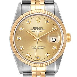 Rolex Datejust Steel 18K Yellow Gold Diamond Dial Mens Watch 16233 Papers