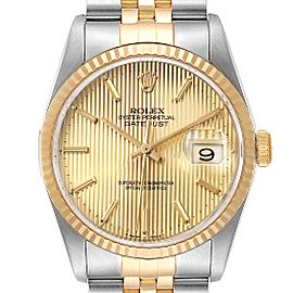 Rolex Datejust Steel Yellow Gold Tapestry Dial Mens Watch 16233 Papers