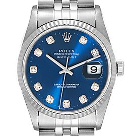 Rolex Datejust 36 Steel White Gold Blue Diamond Dial Mens Watch 16234 Box Papers